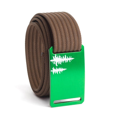 Women's Green Pine Buckle GRIP6 belt with Mocha strap swatch-image