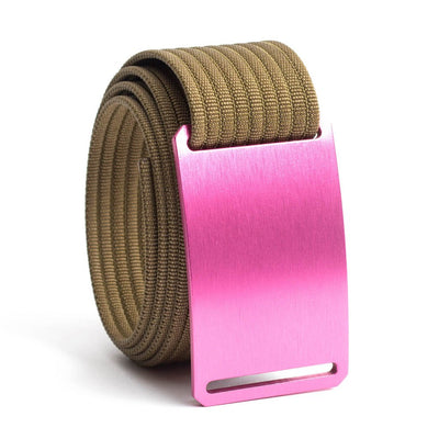 Rose (Pink buckle) GRIP6 Men's belt with Khaki strap swatch-image