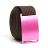 Rose (Pink buckle) GRIP6 Men's belt with Mocha strap swatch-image