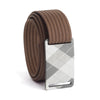 grip6 belts kid's fairway series gunmetal plaid buckle w/ mocha strap swatch-image