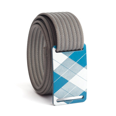 grip6 belts kids fairway navy plaid buckle w/ grey strap swatch-image