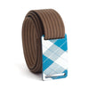 grip6 belts kids fairway navy plaid buckle w/ mocha strap swatch-image