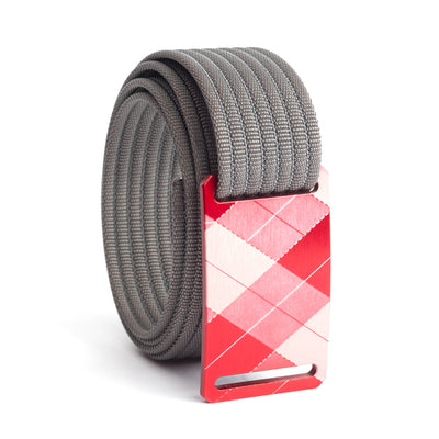 grip6 belts kid's fairway series red plaid buckle w/ grey strap swatch-image