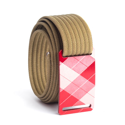 grip6 belts kid's fairway series red plaid buckle w/ khaki strap swatch-image
