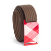 grip6 belts kid's fairway series red plaid buckle w/ mocha strap swatch-image