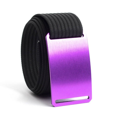 Lupine (Purple buckle) GRIP6 Men's belt with Black strap swatch-image