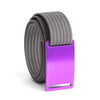 GRIP6 Belts Men's Narrow Classic Lupine (Purple) buckle with Grey Strap swatch-image