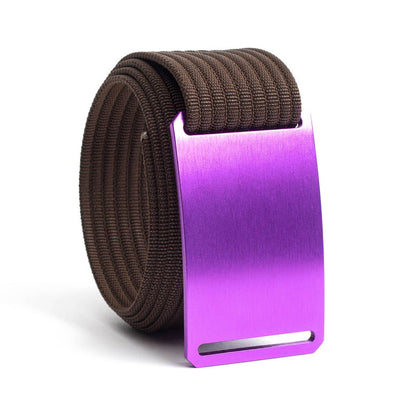 Lupine (Purple buckle) GRIP6 Men's belt with Mocha strap swatch-image