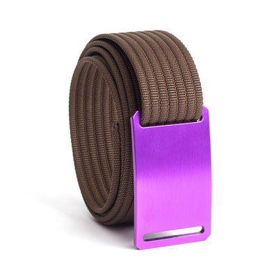 GRIP6 Belts Kids Classic Purple (Lupine) buckle with mocha strap swatch-image