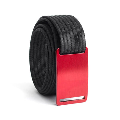 GRIP6 Belts Men's Narrow Classic Ember (Red) buckle with Black Strap swatch-image