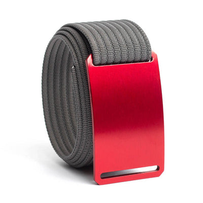 Ember (Red buckle) GRIP6 Men's belt with Grey strap swatch-image