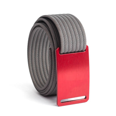 GRIP6 Belts Men's Narrow Classic Ember (Red) buckle with Grey Strap swatch-image