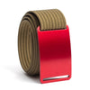 Ember (Red buckle) GRIP6 Men's belt with Khaki strap swatch-image