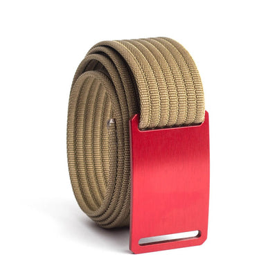 GRIP6 Belts Kids Classic Ember (Red) buckle with khaki strap swatch-image