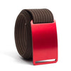 Ember (Red buckle) GRIP6 Men's belt with Mocha strap swatch-image