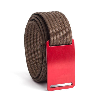 GRIP6 Belts Men's Narrow Classic Ember (Red) buckle with Mocha Strap swatch-image