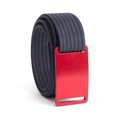 GRIP6 Belts Kids Classic Ember (Red) buckle with navy strap swatch-image
