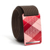 grip6 belts men's Fairway red plaid buckle w/ mocha strap swatch-image