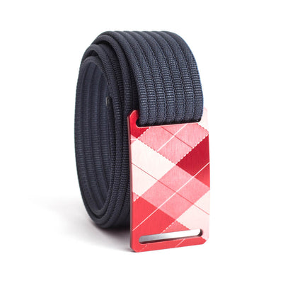 grip6 belts kid's fairway series red plaid buckle w/ navy strap swatch-image