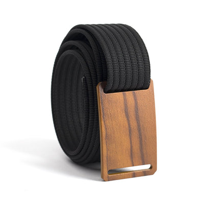 Craftsman Olive wood Buckle GRIP6 Women's belt with Black strap swatch-image