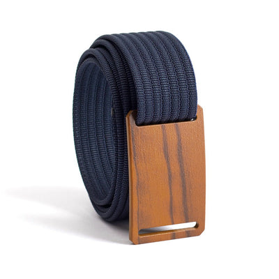 Craftsman Olive wood Buckle GRIP6 Women's belt with Navy strap swatch-image