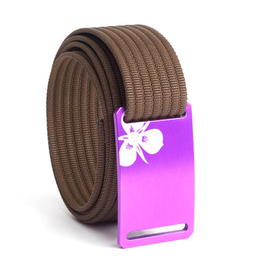Women's Purple Sego Lily Buckle GRIP6 belt with Mocha strap swatch-image