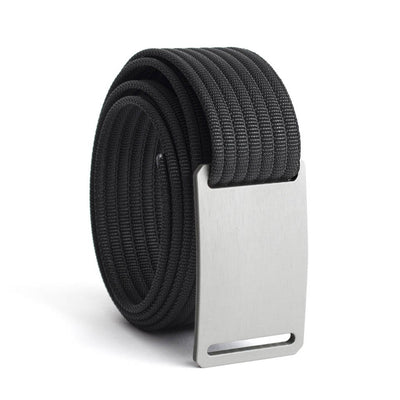 GRIP6 Belts Men's Narrow Classic Granite (Silver) buckle with Black Strap swatch-image