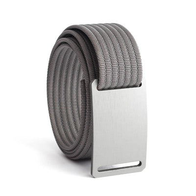 GRIP6 Belts Men's Narrow Classic Granite (Silver) buckle with Grey Strap swatch-image