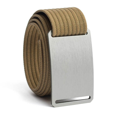 Granite (Silver buckle) GRIP6 Men's belt with Khaki strap swatch-image