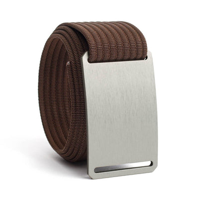 Granite (Silver buckle) GRIP6 Men's belt with Mocha strap swatch-image