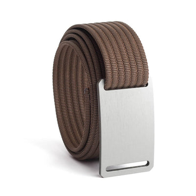 GRIP6 Belts Men's Narrow Classic Granite (Silver) buckle with Mocha Strap swatch-image