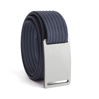 GRIP6 Belts Men's Narrow Classic Granite (Silver) buckle with Navy Strap swatch-image