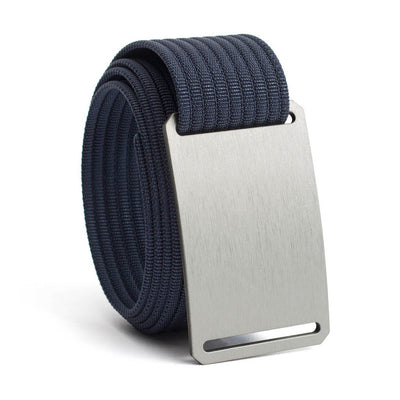 Granite (Silver buckle) GRIP6 Men's belt with Navy strap swatch-image