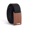 Walnut wood grain buckle GRIP6 Men's narrow belt with Black strap swatch-image