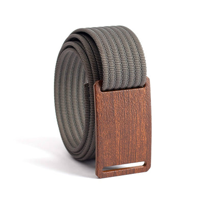 Walnut wood grain buckle GRIP6 Men's narrow belt with Grey strap swatch-image