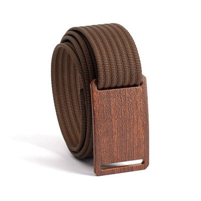Walnut wood grain buckle GRIP6 Men's narrow belt with Mocha strap swatch-image