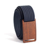 Walnut wood grain buckle GRIP6 Men's narrow belt with Navy strap swatch-image