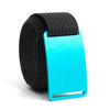 Aurora (Teal buckle) GRIP6 Men's belt with Black strap swatch-image