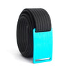 GRIP6 Belts Men's Narrow Classic Aurora (Teal) buckle with Black Strap swatch-image