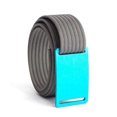GRIP6 Belts Men's Narrow Classic Aurora (Teal) buckle with Grey Strap swatch-image