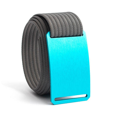 Aurora (Teal buckle) GRIP6 Men's belt with Grey strap swatch-image