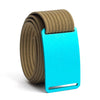 Aurora (Teal buckle) GRIP6 Men's belt with Khaki strap swatch-image