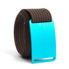 Aurora (Teal buckle) GRIP6 Men's belt with Mocha strap swatch-image