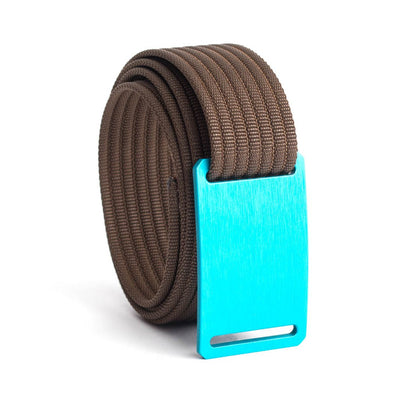 GRIP6 Belts Men's Narrow Classic Aurora (Teal) buckle with Mocha Strap swatch-image