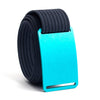 Aurora (Teal buckle) GRIP6 Men's belt with Navy strap swatch-image