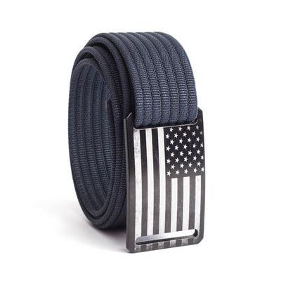 Women's USA Black Flag Narrow Buckle GRIP6 belt with Navy strap swatch-image