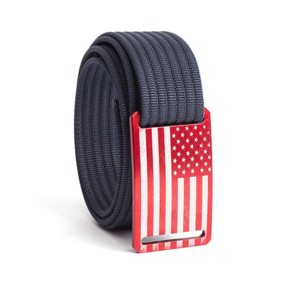 Men's USA Red Flag Narrow Buckle GRIP6 belt with Navy strap swatch-image