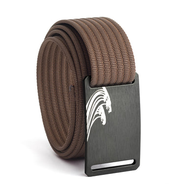 Women's Gunmetal Surf Buckle GRIP6 belt with Mocha strap swatch-image