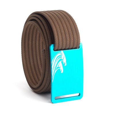 Women's Teal Surf Buckle GRIP6 belt with Mocha strap swatch-image