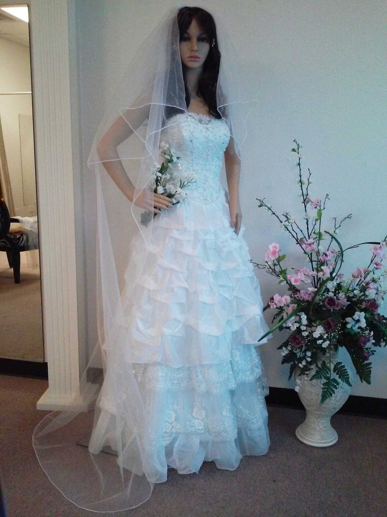 Chapel Length Veil With Corded / Pencil Edge 1445